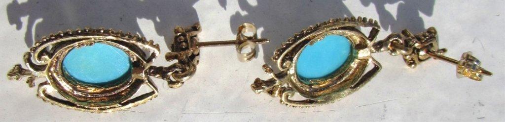GEM TURQUOISE 14k GOLD EARRINGS 6 GRAMS - 3