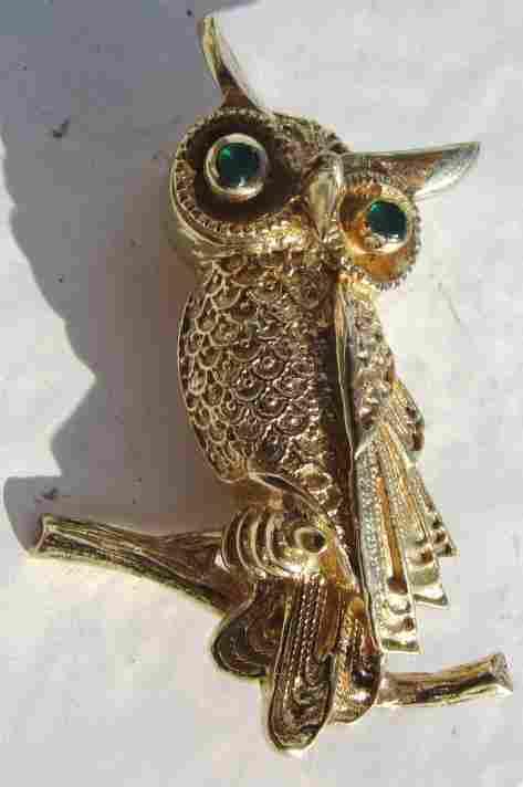 EMERALD 14K GOLD OWL PIN BROOCH HALLMARKED
