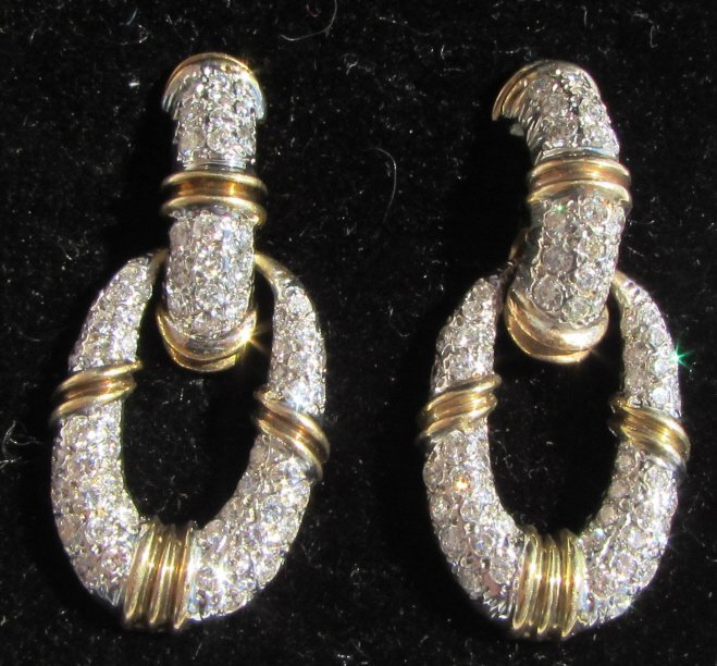 3CT DIAMOND EARRINGS 14K GOLD DOOR KNOCKERS