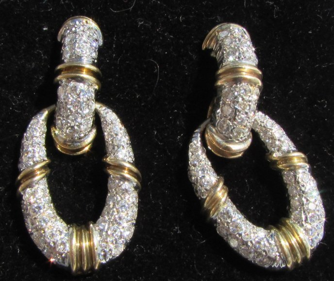 3CT DIAMOND EARRINGS 14K GOLD DOOR KNOCKERS - 2