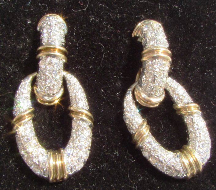 3CT DIAMOND EARRINGS 14K GOLD DOOR KNOCKERS - 3