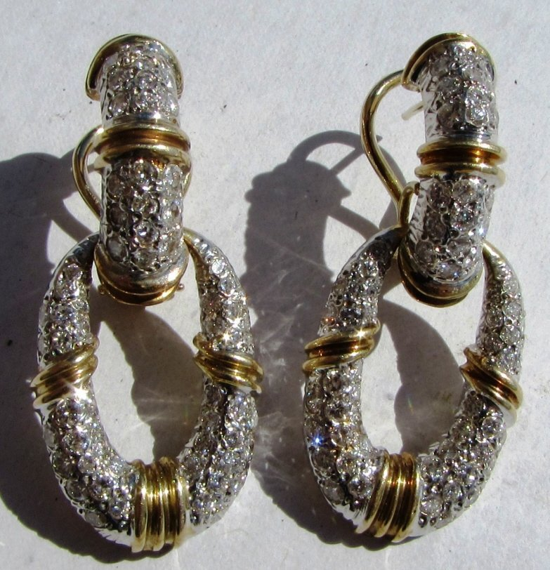 3CT DIAMOND EARRINGS 14K GOLD DOOR KNOCKERS - 4