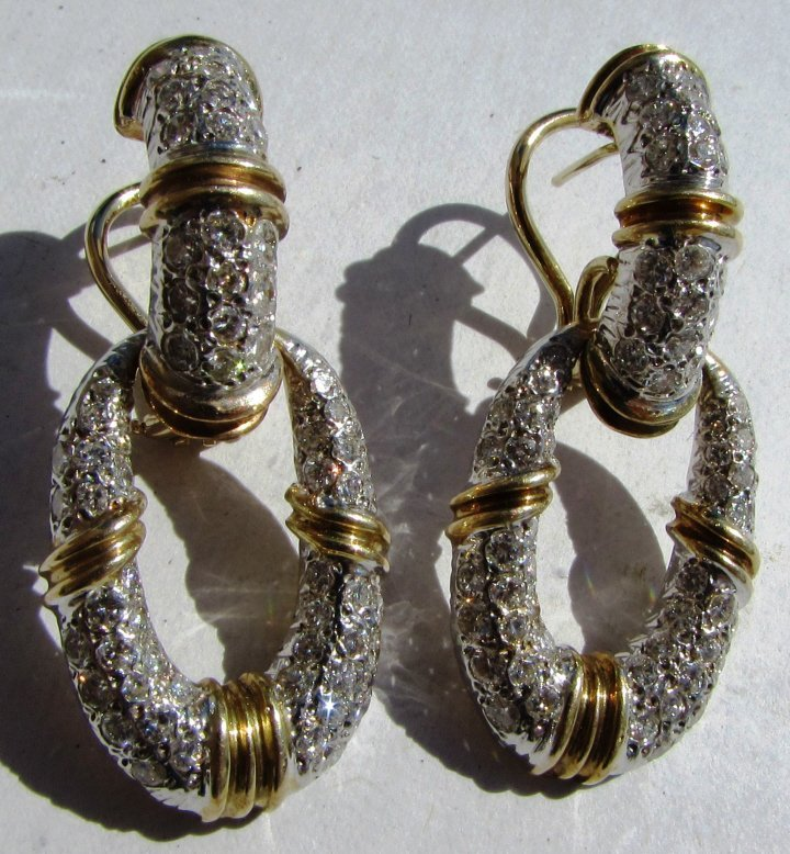 3CT DIAMOND EARRINGS 14K GOLD DOOR KNOCKERS - 5