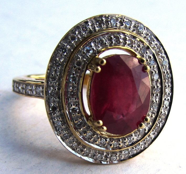 18K GOLD DIAMOND 2.38CT RUBY RING 6.1 g SIZE 7