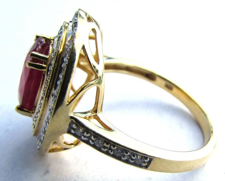 18K GOLD DIAMOND 2.38CT RUBY RING 6.1 g SIZE 7 - 3