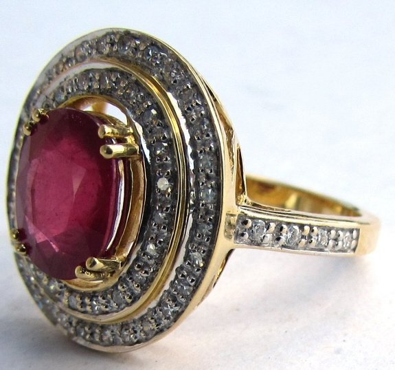 18K GOLD DIAMOND 2.38CT RUBY RING 6.1 g SIZE 7 - 5