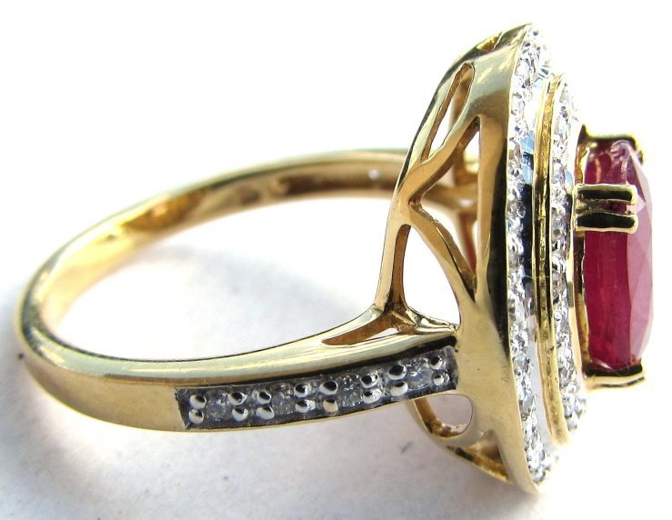 18K GOLD DIAMOND 2.38CT RUBY RING 6.1 g SIZE 7 - 6
