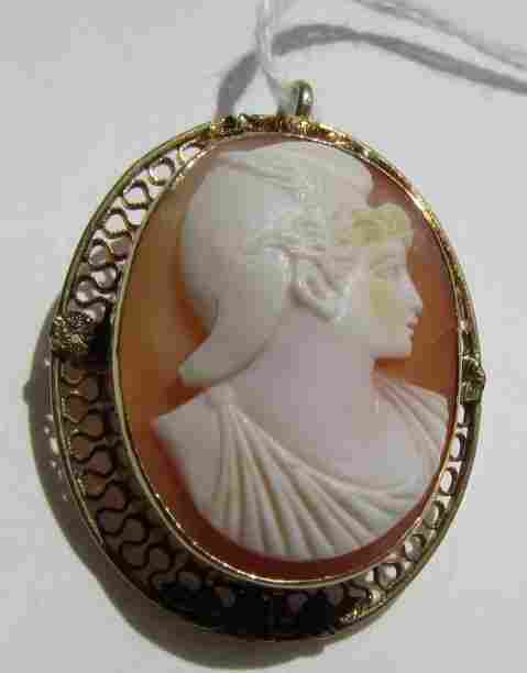14K GOLD CARVED SHELL CAMEO MERCURY PIN & PENDANT