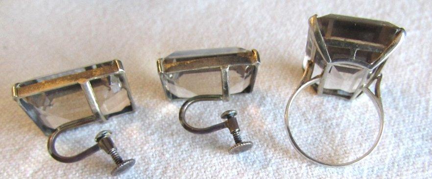SMOKEY QUARTZ STERLING SILVER RING & EARRINGS - 3