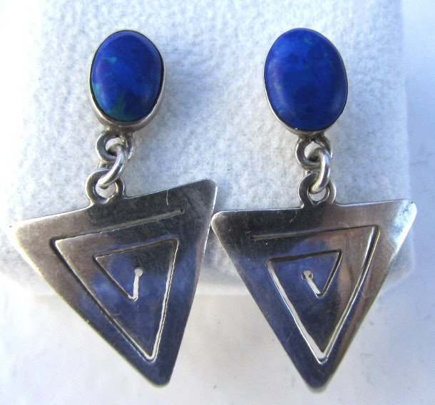 LAPIS LAZULI EARRINGS STERLING SILVER HAND MADE