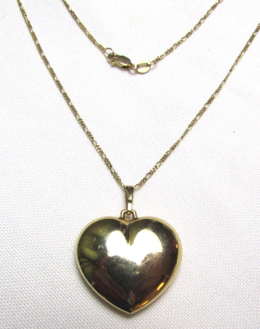 14k GOLD NECKLACE HEART FIGARO 5.7 g CHAIN PENDANT