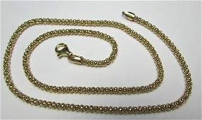 18 POPCORN CHAIN LINK NECKLACE 14K GOLD 77GRAMS