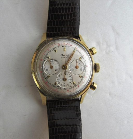 RARE 14K GOLD GALLET CHRONOGRAPH 3 REGISTER WATCH
