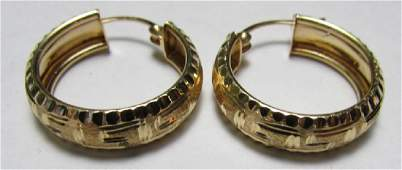 14K GOLD DIAMOND CUT HOOP EARRINGS