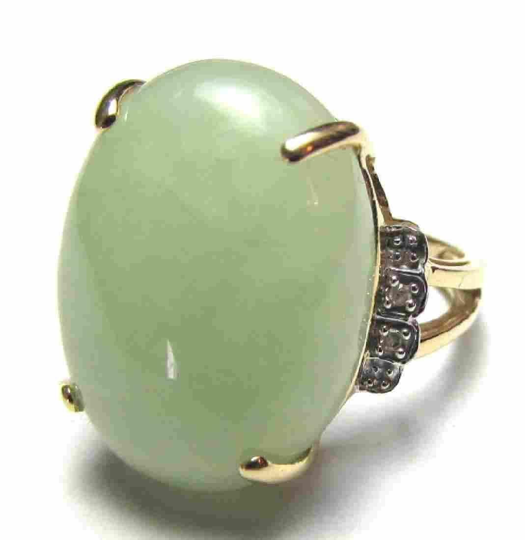 HUGE JADE DIAMOND RING ASIAN 14K GOLD SIZE 6
