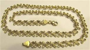 14K GOLD NECKLACE BUTTERFLY LINK CHAIN 17
