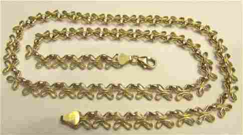 """14K GOLD NECKLACE BUTTERFLY LINK CHAIN 17"""""""