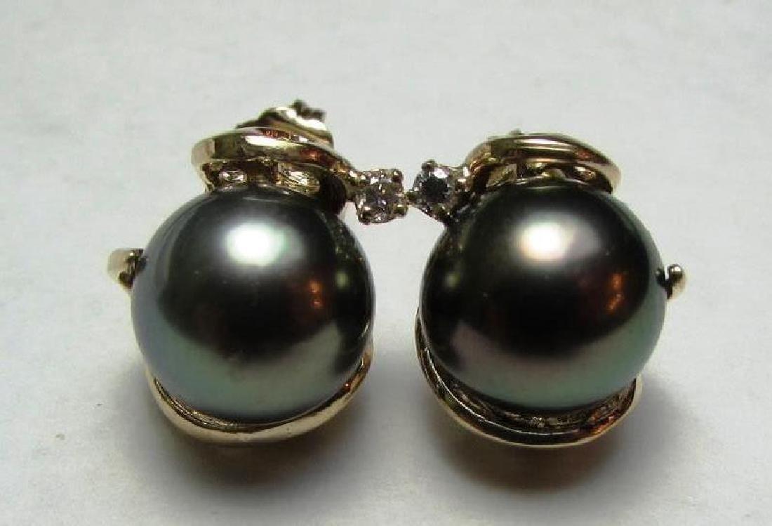 9.5 TAHITIAN BLACK PEARL DIAMOND EARRINGS 14K GOLD