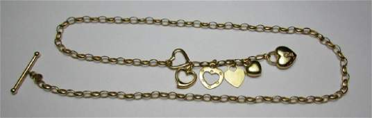 14K GOLD 21 CHAIN LINK 6 HEART NECKLACE  10 GRAMS