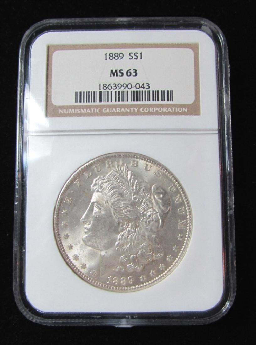 1889 $1 MORGAN US SILVER DOLLAR COIN MS63 NGC
