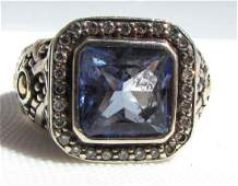 JOHN HARDY 18k GOLD DIAMOND 925 BLUE TOPAZ RING