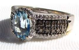 LEVIAN 2 CARAT AQUAMARINE 14K GOLD DIAMOND RING