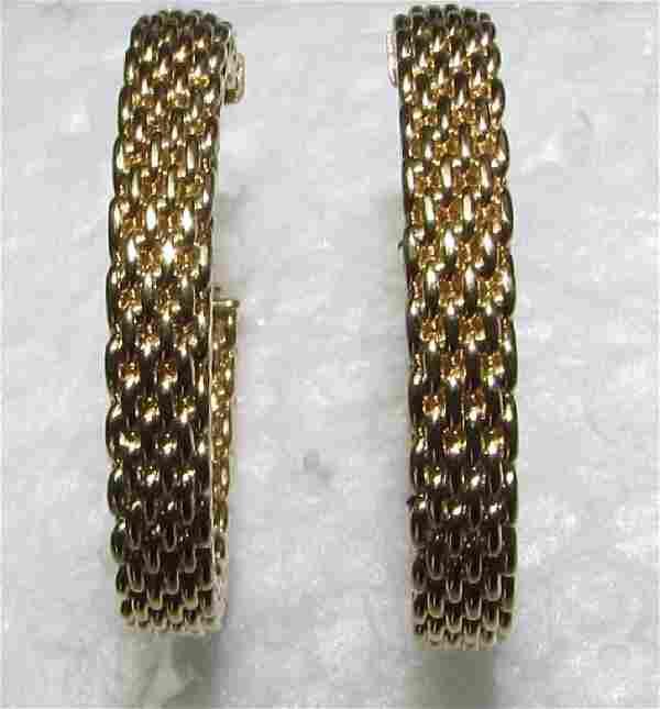 TIFFANY & CO 18K GOLD EARRINGS HOOP CHAIN WHEAT