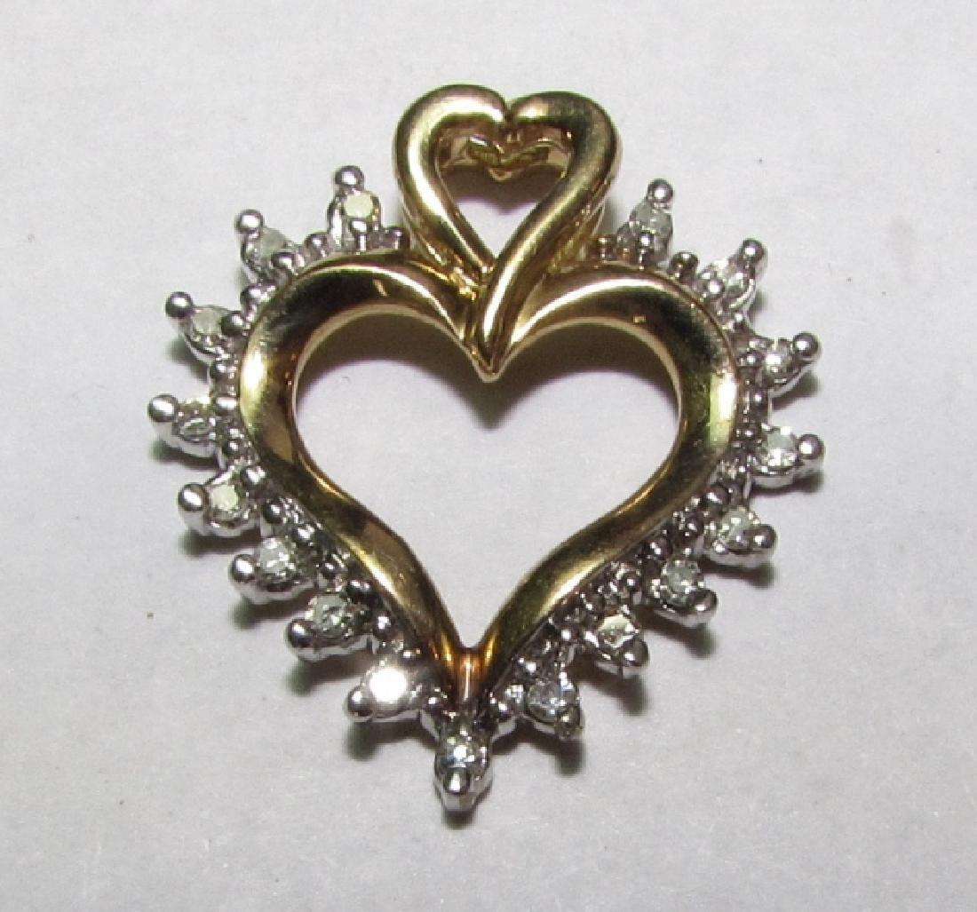 17 DIAMOND 10K GOLD HEART PENDANT NECKLACE CHARM