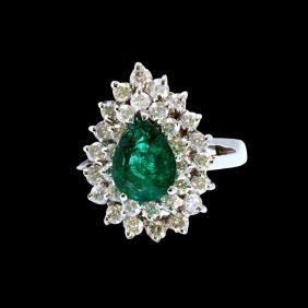 1.73CT NATURAL COLUMBIAN EMERALD 18K WHITE GOLD RING