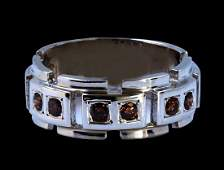 048CT Natural Red Diamond 14K White Gold Mens Ring