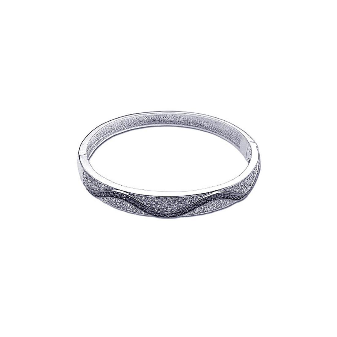 Sterling Silver Rhodium Plated CZ Wave Bangle Bracelet