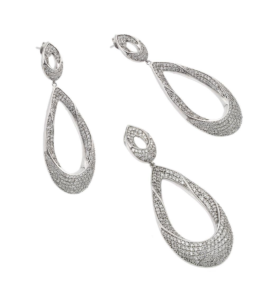 Sterling Silver Rhodium Plated Clear Open Micro Pave