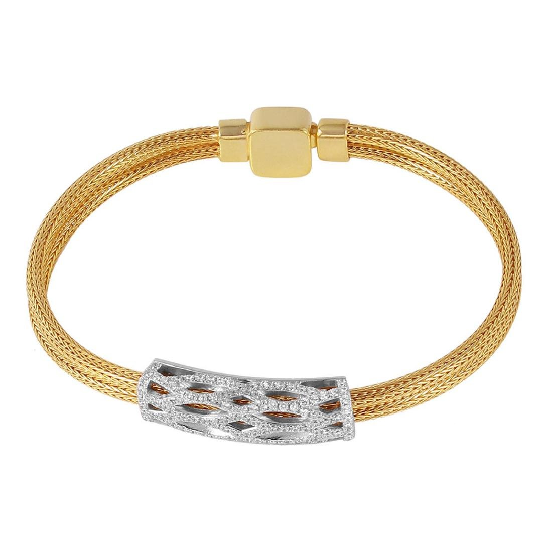 Sterling SIlver Gold Plated CZ Bar ItalianBracelet