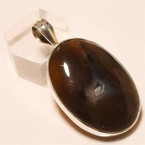 fossil chalcedony Pendant Solid Sterling Silver
