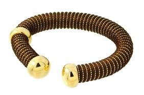 Sterling Silver Gold Plated Open Brown Silk Cord