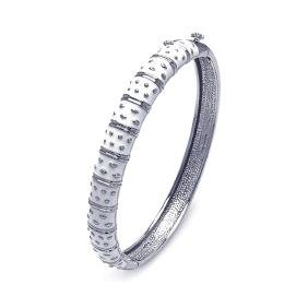 Sterling Silver Rhodium Plated White Enamel CZ Bangle