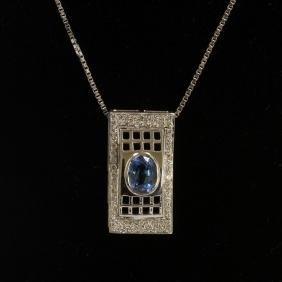 1.30CT NATURAL CEYLON BLUE SAPPHIRE 14K WHITE GOLD
