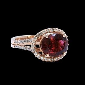 4.25CT NATURAL PINK TOURMALINE 14K ROSE GOLD RING