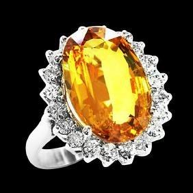 8.20CT NATURAL CEYLON YELLOW SAPPHIRE 14K WHITE GOLD