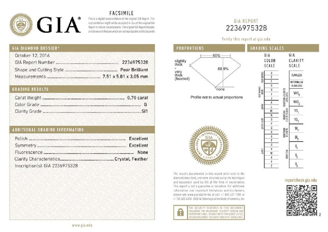 GIA/Pear/G/SI1/0.7Ct