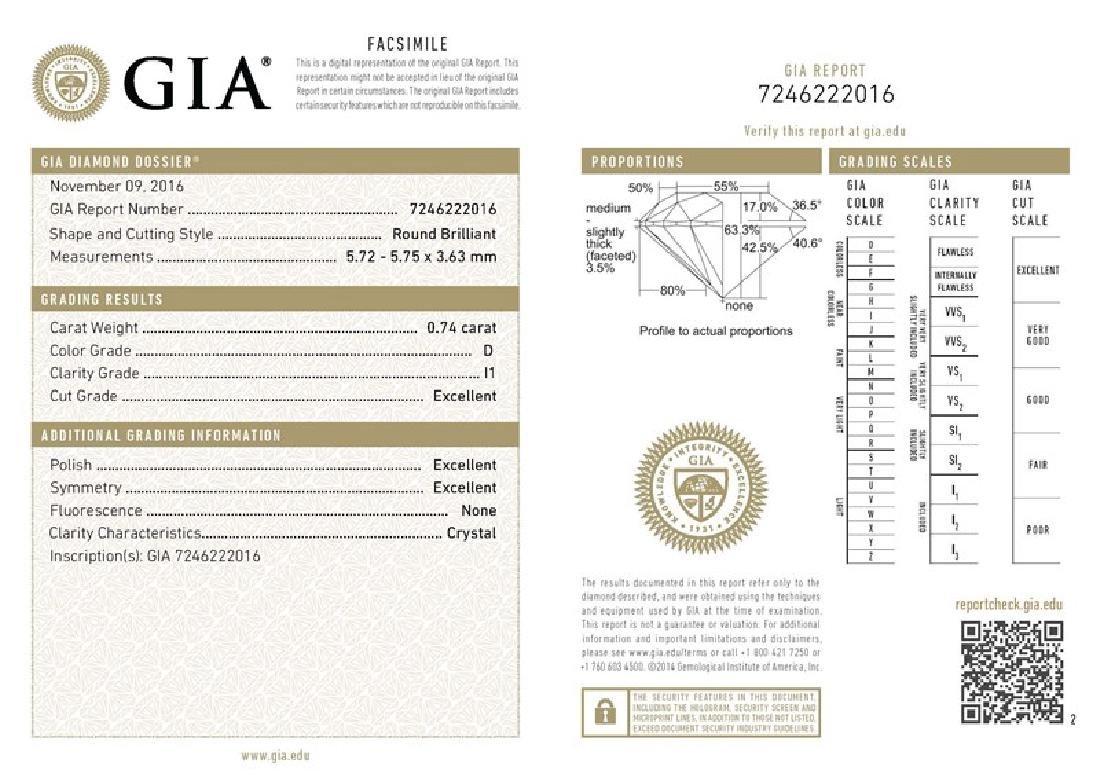 GIA/Round/D/I1/0.74Ct