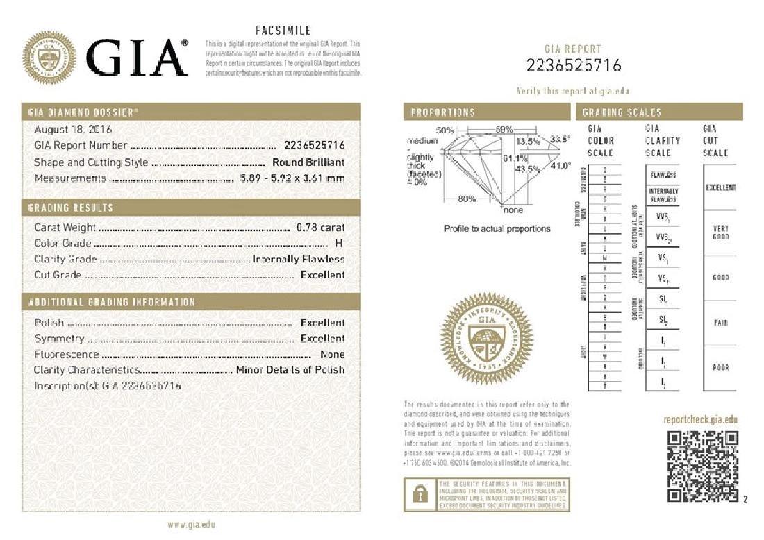 GIA/Round/H/IF/0.78Ct