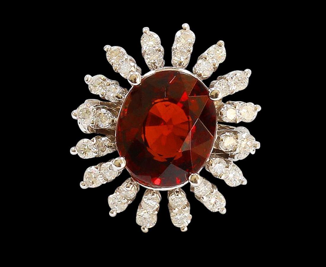 6.36CT NATURAL SPESSARTITE GARNET 14K WHITE GOLD RING