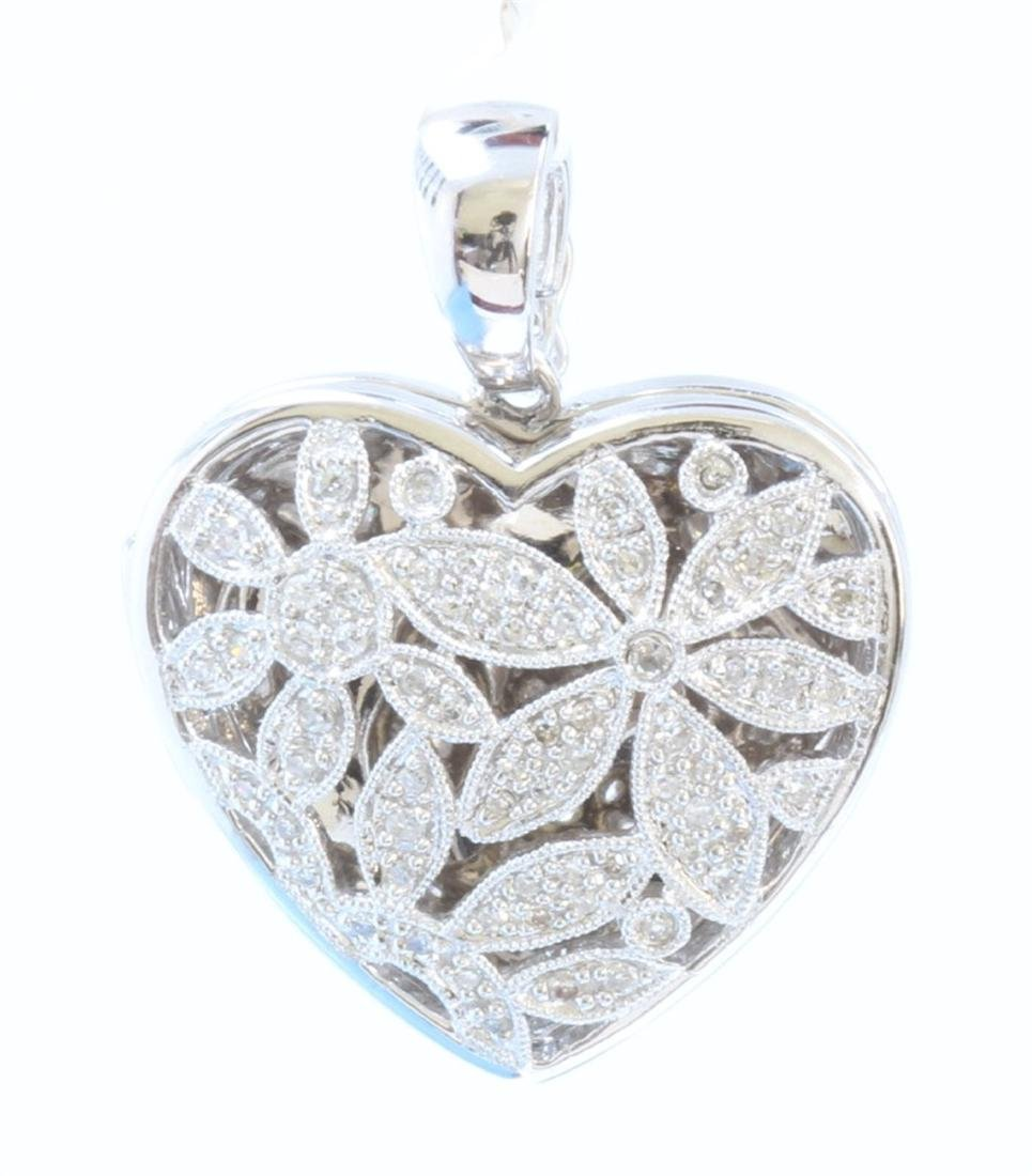 14K WHITE GOLD DIAMOND HEART LOCKET PENDANT:8