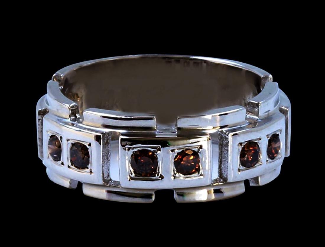 0.48CT Natural Red Diamond 14K White Gold Men's Ring