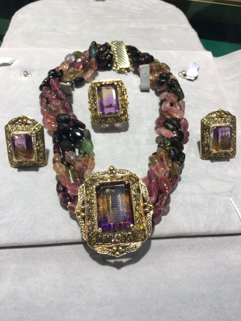 About 70ct Ametrine 18K Gold/ Tourmaline Antique and