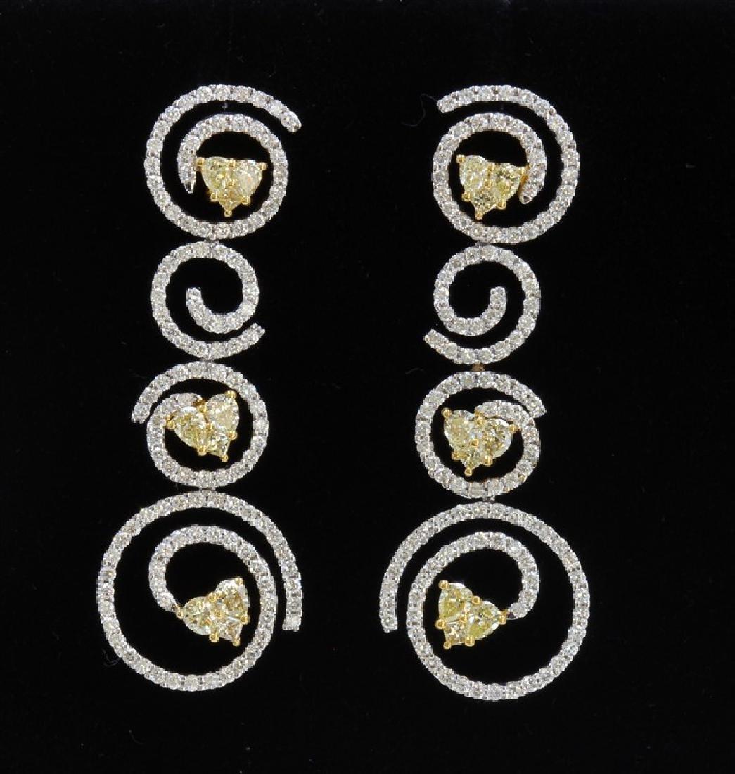 18K White & Yellow Gold And Diamond Dangling Earring