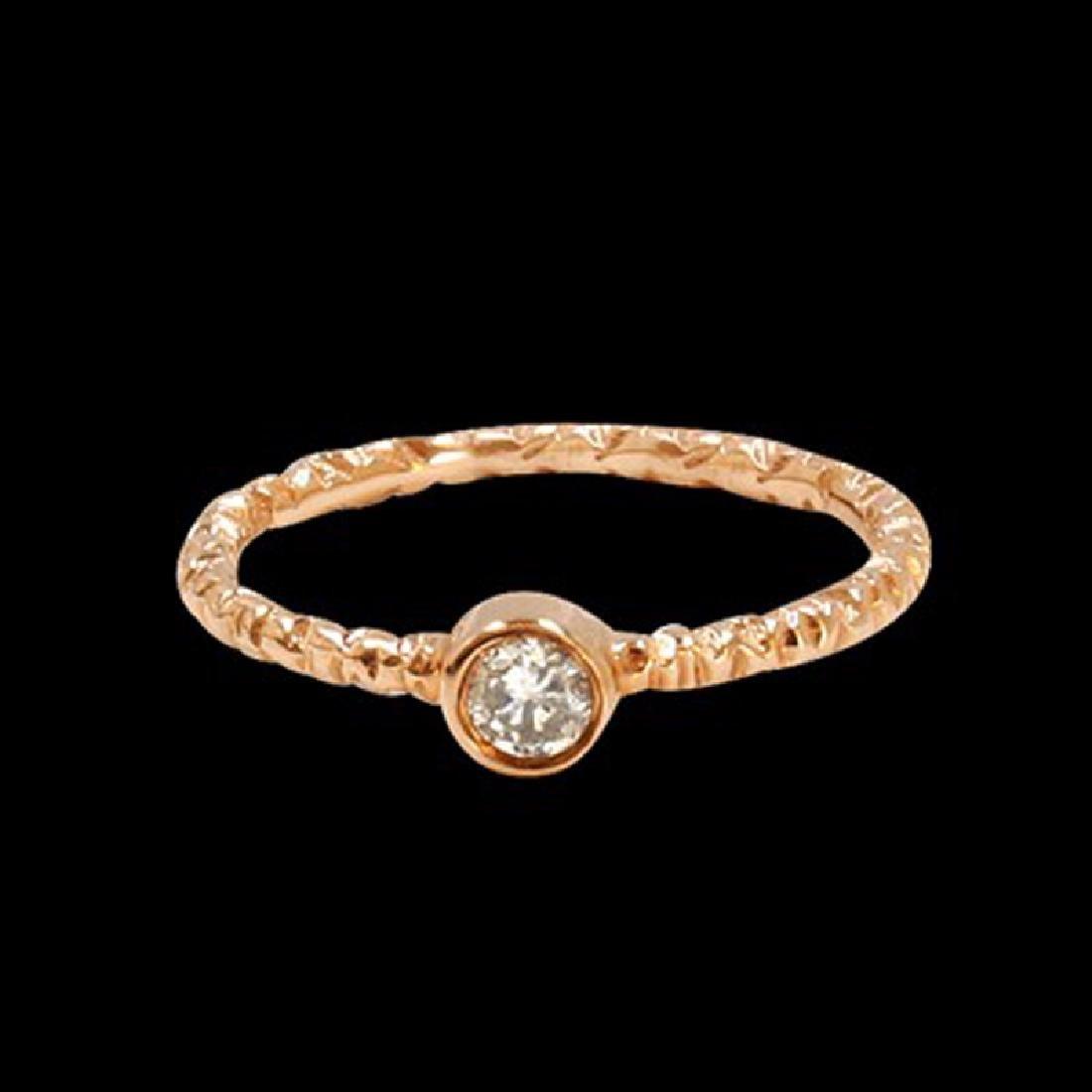 0.17CT NATURAL DIAMOND 14K ROSE GOLD RING