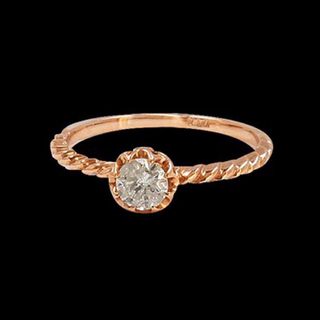 0.38CT NATURAL DIAMOND 14K ROSE GOLD RING