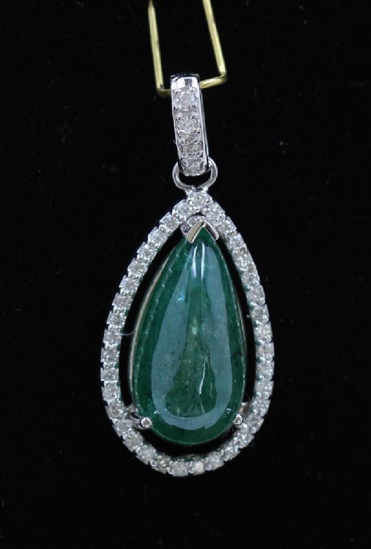8.17ct Emerald 14K White Gold Pendant
